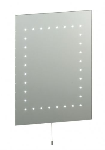 LED Mirrored glass & matt silver effect paint IP44 Bathroom Mirror Light 13758 by Endon